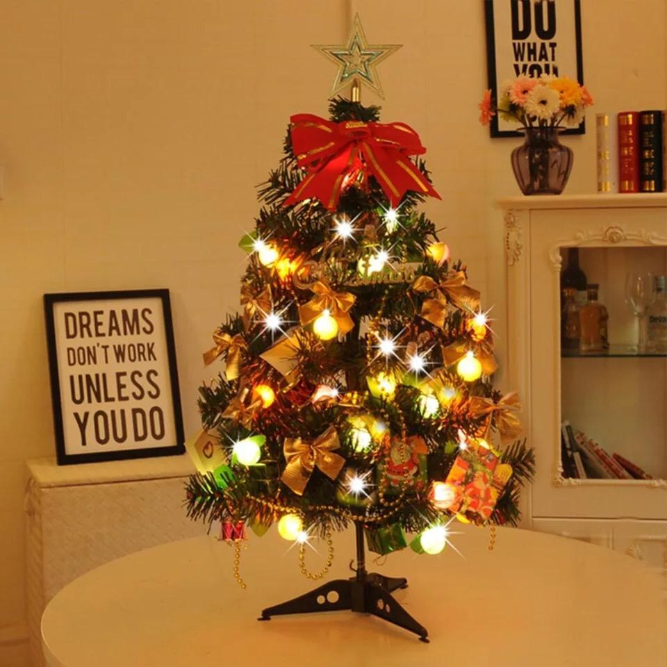 Small Artificial Christmas Tree Fake Pine Tree Christmas Placed In The Desktop