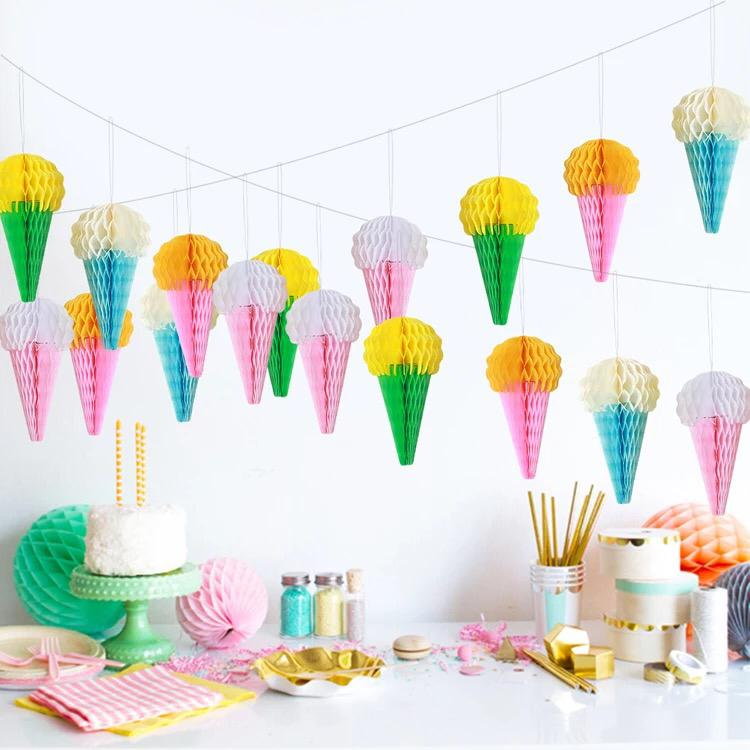 5Pcs/lot 15CM Tissue Paper Lantern Ice Cream Honeycomb Ball Paper Flower For Home Garden Wedding Party Decoration Baby Shower