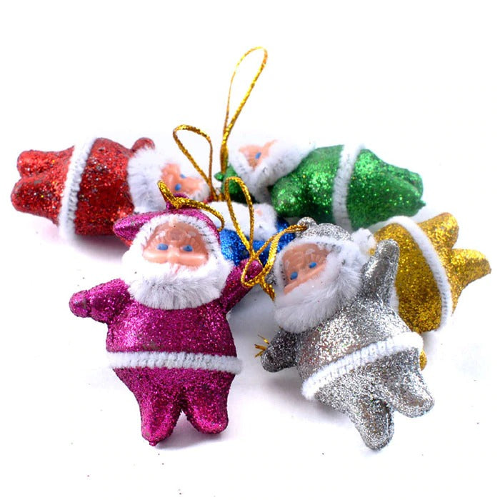 Cute 6PC Colorful Christmas Ornaments Santa Claus Party Christmas Tree Hanging