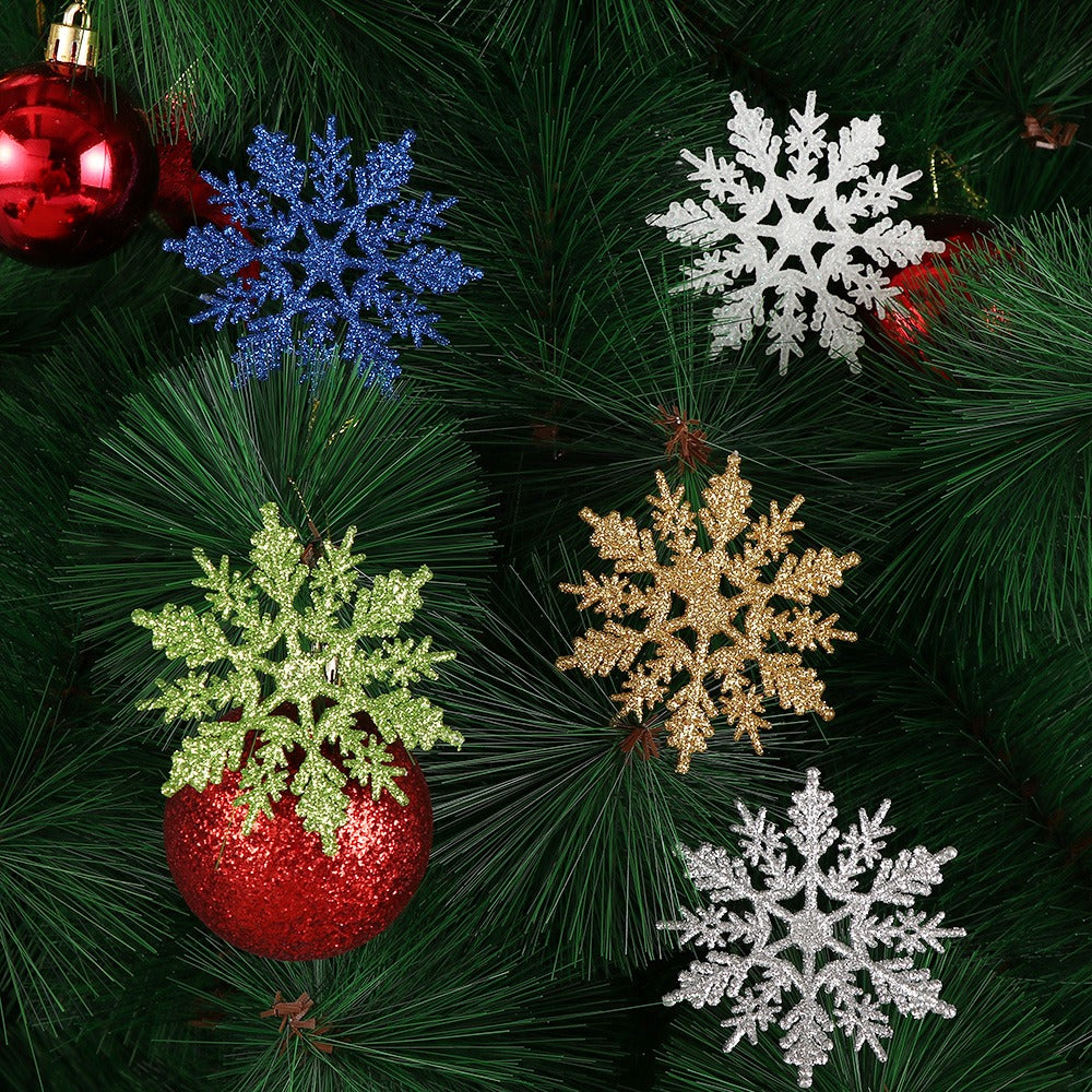 3 Pc Gold Powder Snowflake For Xmas White Christmas Tree Decor