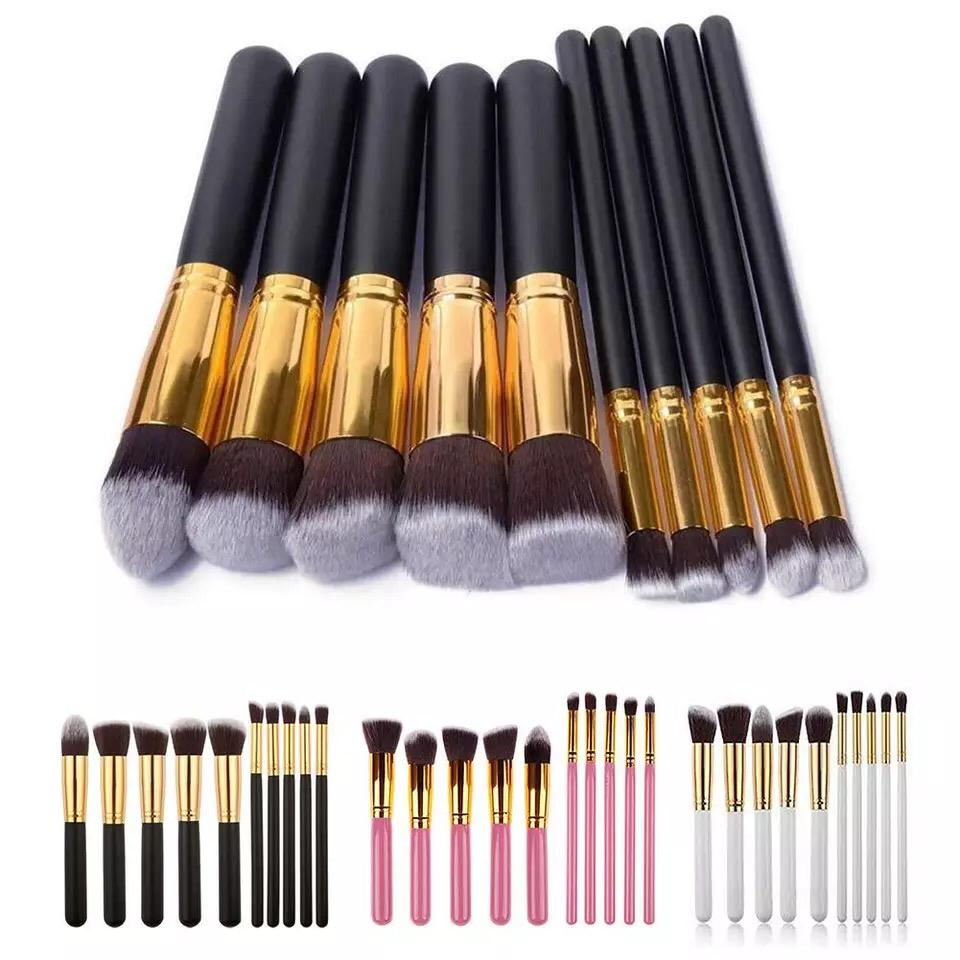 10pcs Silver And Gold Face Makeup Brush Set Powder Blush Contour Foundation Brush For Face Color Cosmetics