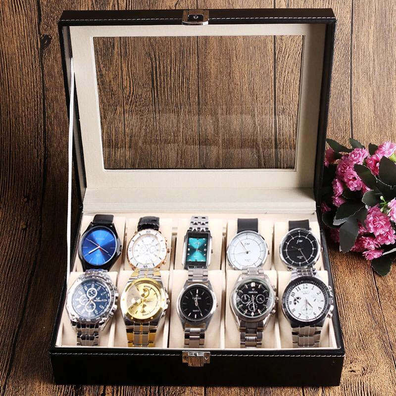 Fashion 10 Grid Leather Watch Box Display Case Jewelry Collection Storage Organizer Holder With Pads Watches Accessory