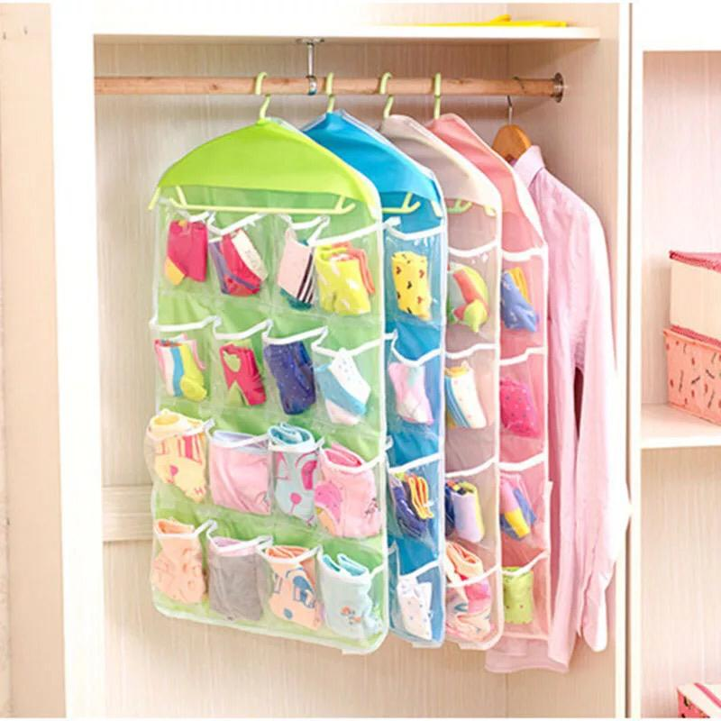 16 Pockets Clear Over Door Hanging Rack Hanger Storage Bag Socks Organizer