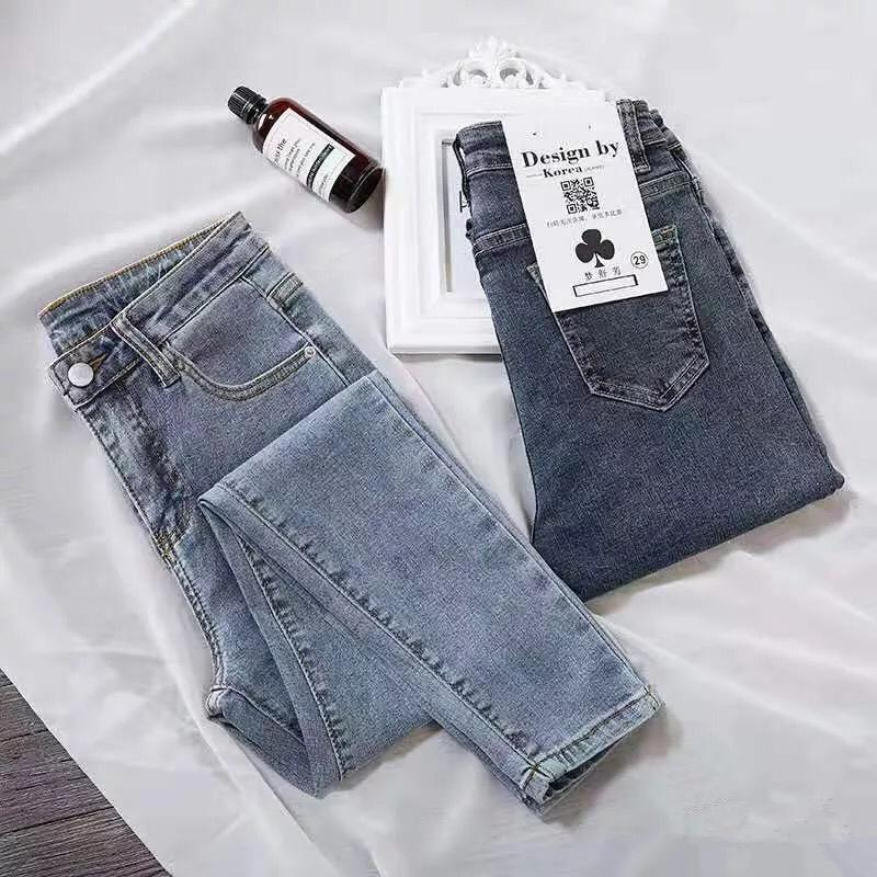 Vintage Color Woman Denim Jeans High Waist Pencil Pants