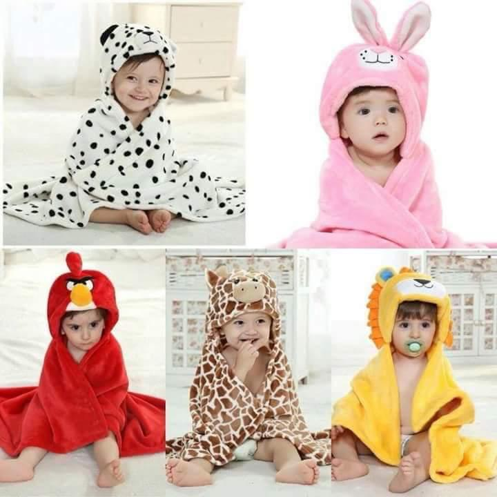 Baby Cartoon Animal Cosplay Photo props Receiving Blanket Flannel Design Newborn Infant Bath Sleeping Robe