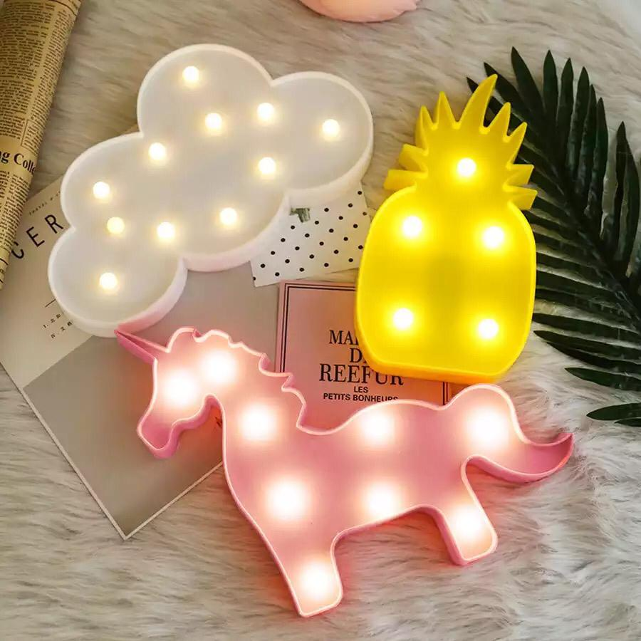 Lamp LED Flamingo Unicorn Night Light Pineapple Cactus Star Luminary Wall & Table Decoration