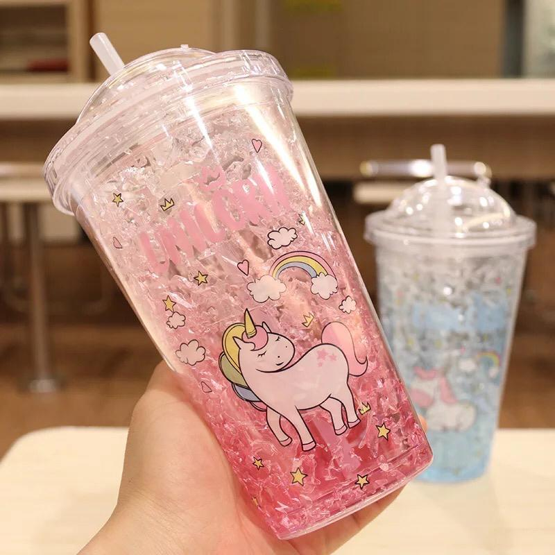 Straw Ice Cool Cup Wide Mouth Plastic Cup Double-Layer Anti-Fall Ice cup