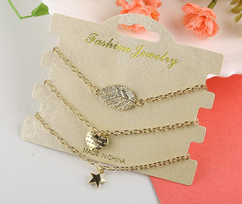 Leaf With Star 3 Piece Bracelet