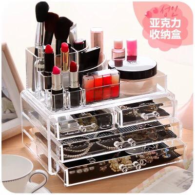 Transparent Acrylic Makeup Organizer Drawer Lipstick Holder Table Organizer For Cosmetics