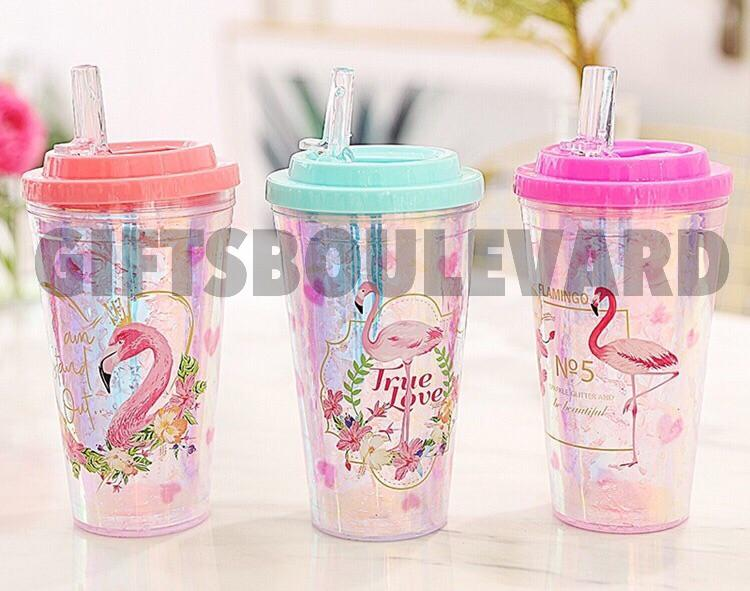 450ML Cartoon Bird Flat Cover Ice Cup Summer Water Glass Plastic Double Cold Cup