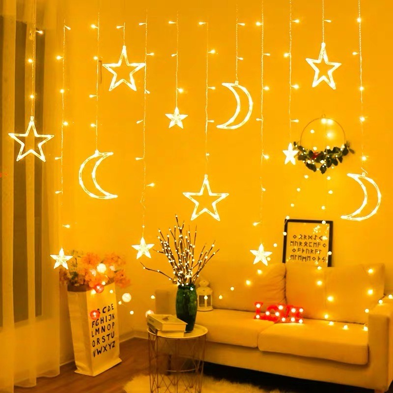 Big Moon Small Stars Curtain Fairy Lights