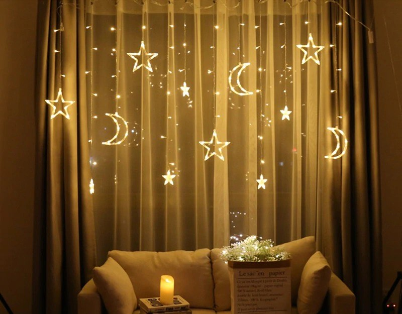 Big Moon Big Stars Curtain String Fairy Lights