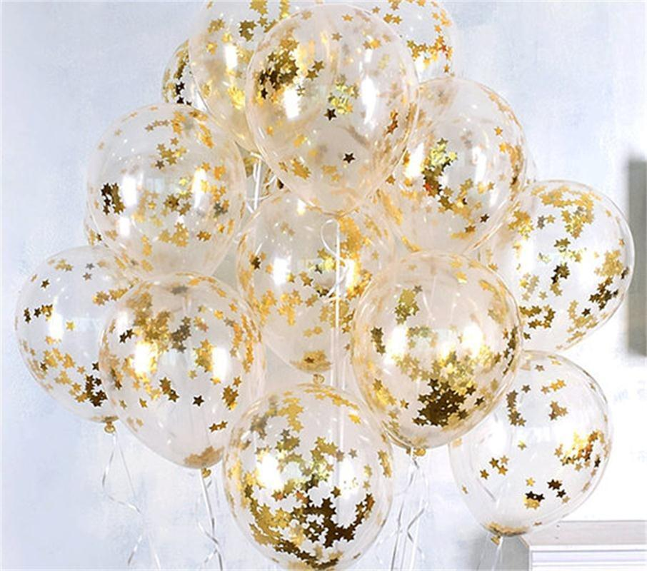 Clear Balloons Gold Star Foil Confetti Transparent Balloons Happy Birthday Baby Shower Wedding Party Decorations 10PCS