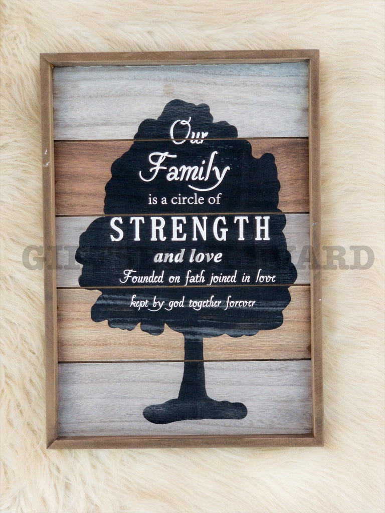Our Family Circle Love Strength Forever Hanging Sign Wall Décor