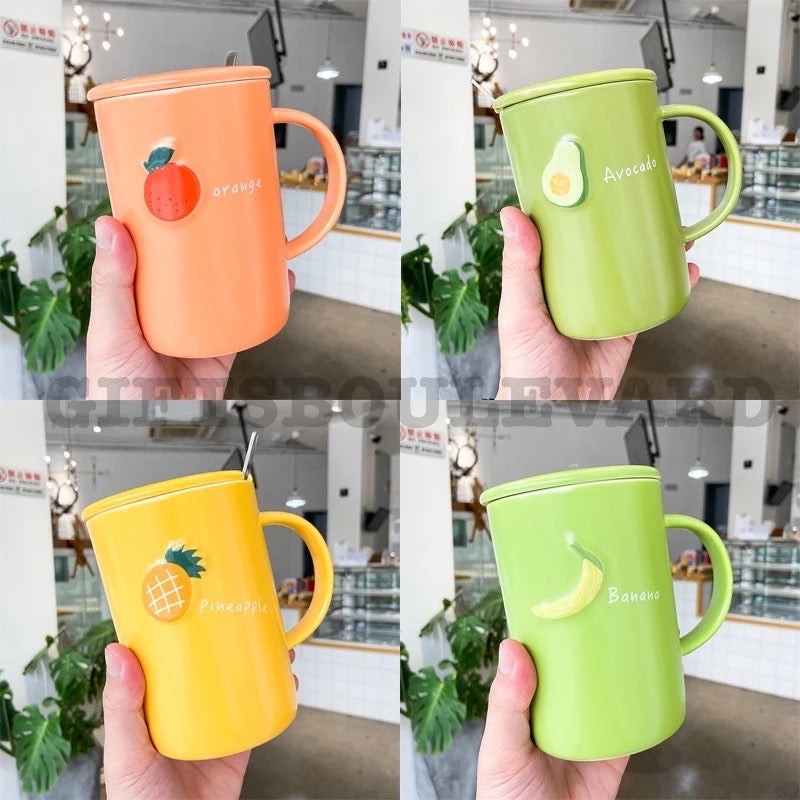 500ml Japanese Style Simple Macarone Fruit Ceramic Cup With Lid