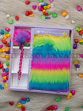 Rainbow Fur Pen Dairy Set