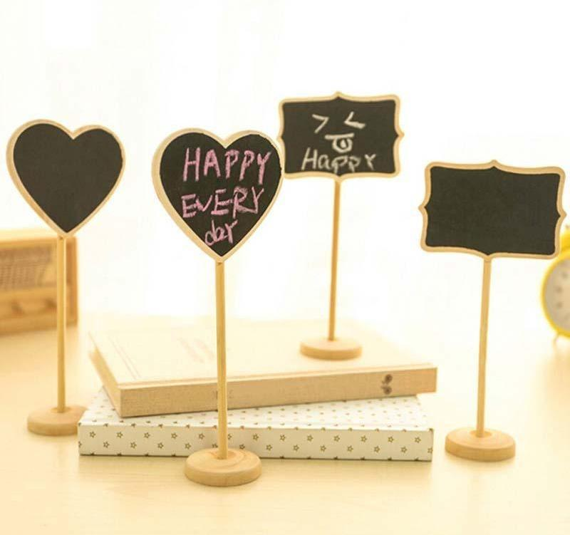 10Pcs / lot Retangle / Heart Mini Blackboard Chalkboard Wordpad Message Board Holder Clip on a Stick Stand Wedding Table Decoration