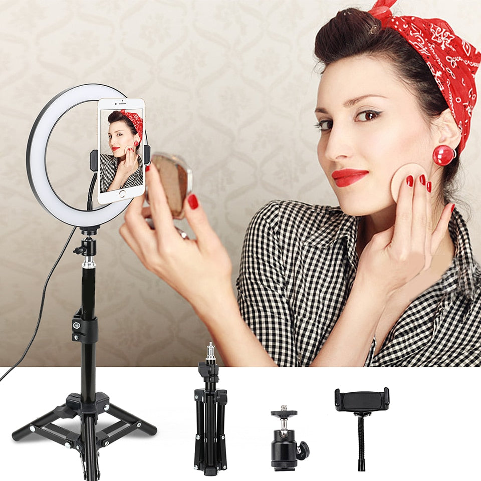 "10"" Dimmable Selfie LED Ring Light Photographic lighting Youtube Video Live 3500-5500k Studio Light for Smartphone Makeup"