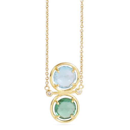 gold pendant with semi-precious stones and diamonds