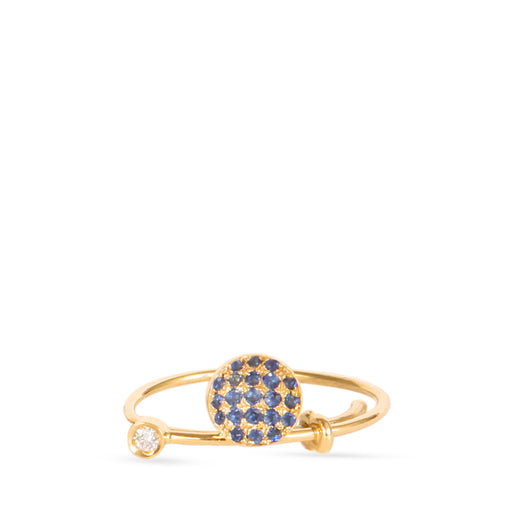 Gold ring with sapphire and white diamonds