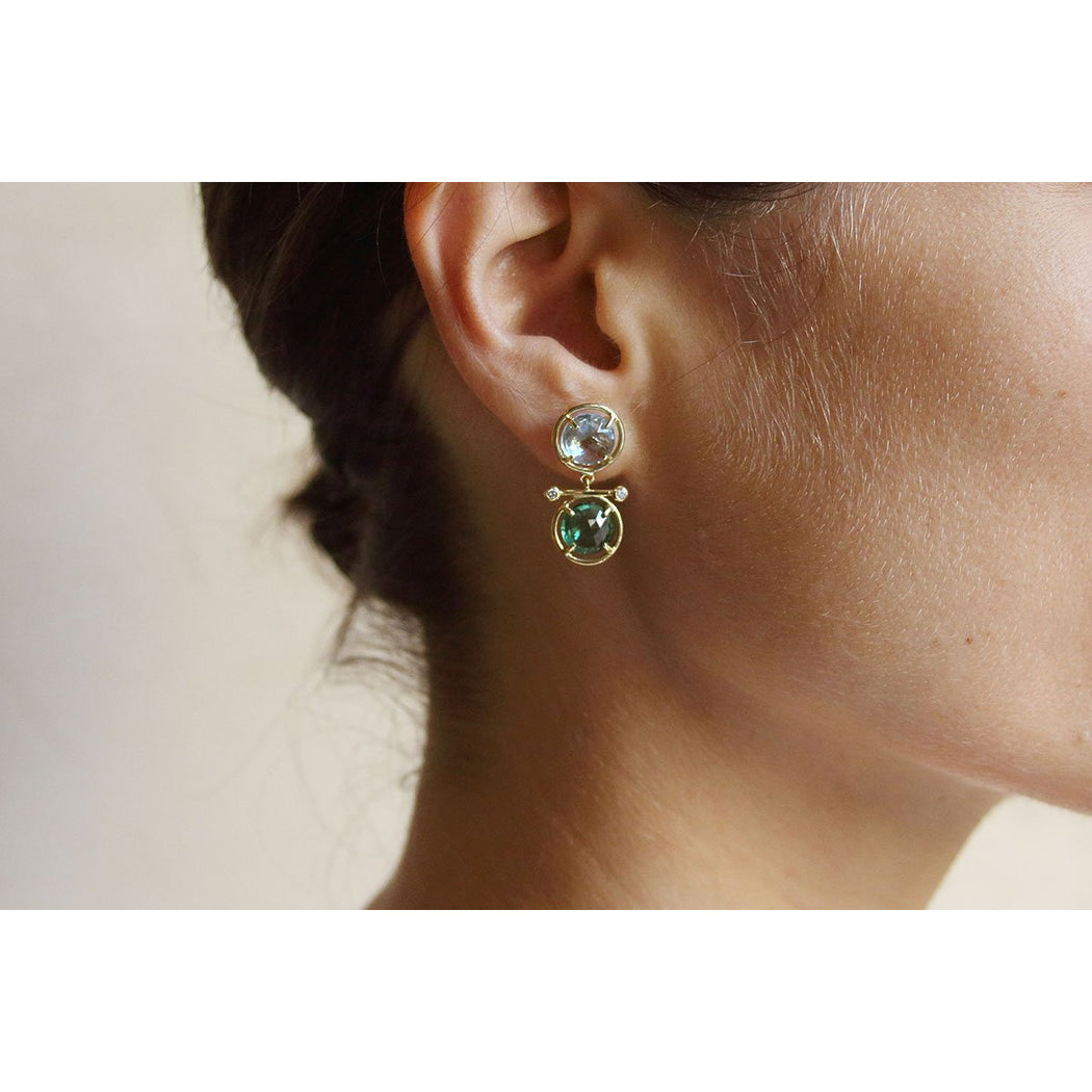 gold earrings with semi-precious stones and diamonds
