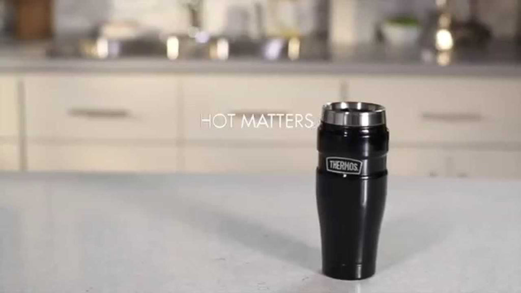 Thermos™ vacuum insulation technology for maximum temperature retention keeps drinks hot for 5 hours or cold for 9