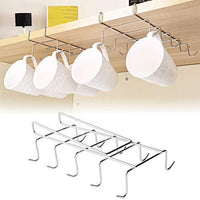 Wellobox Coffee Mug Holder Under Cabinet Cup Hanger Rack Stainless Steel Hooks Cup Rack Under Shelf for Bar Kitchen Storage Fit for The Cabinet