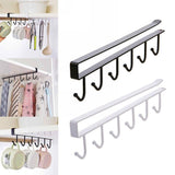 6 Hooks Storage Rack Shelf Storage Clothes Hanging Wardrobe Kitchen Organizer Cup Holder Glass Mug Holder