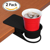 2 Pcs Drinking Cup Holder Clip - Home Office Table Desk Side Huge Clip Water Drink Beverage Soda Coffee Mug Holder Cup Saucer Clip Design,Black