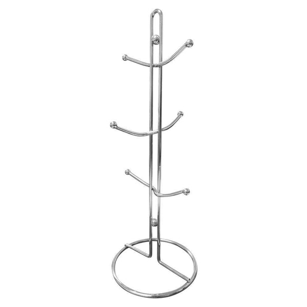 Evelots Mug Holder Rack, Metal Mug Tree Kitchen Organizer Holds 6 Cups, Chrome (1)