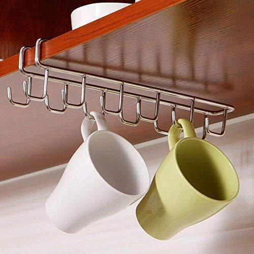 Wellobox Stainless Steel Coffee Mug Holder Hooks Under Shelf Mugs Cups Wine Glasses Storage Drying Holder Rack