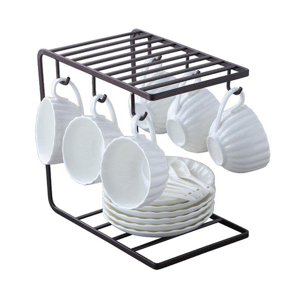 7U Metal Coffee Mug Cup Holder Organizer Stand for Cabinet, Counter, Desk | Kitchen Drying Display Rack with 6 Hooks for Large Mug - 9.5 x 9.1Inch (Black)