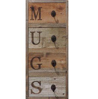 Rustic Vertical 4- Hook Barn Wood Mug Rack