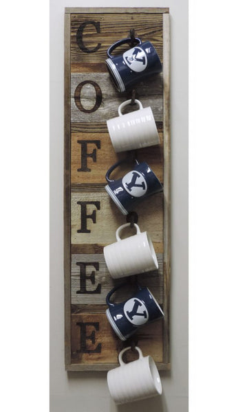 Rustic Vertical 6 Hook Barn Wood Coffee Mug Rack