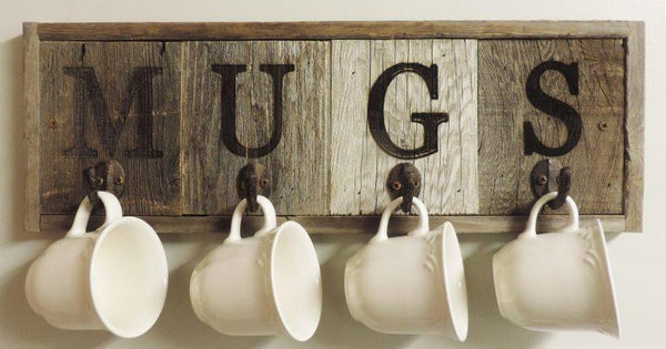 Rustic Horizontal 4- Hook Barn Wood Mug Rack