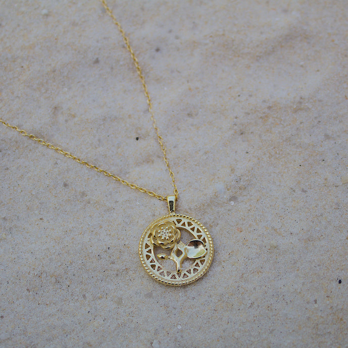 Engraved Rose Necklace