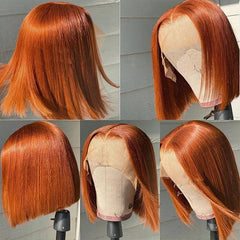 Show customers examples of ginger hair wig products,Here are five ginger hair wig pictures spliced into one picture, which are the front, side and back of the product.