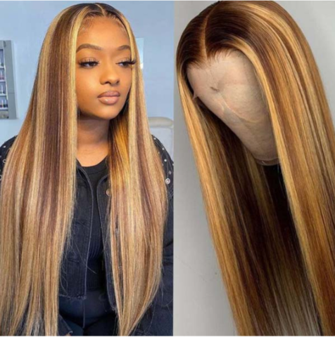 Highlight straight lace front wigs