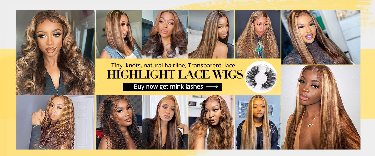 lace front wig highlight color straight hairstyle
