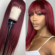 #99J Color Straight Hair Machine Made Wig Human Hair Wig with Bangs