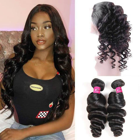 10A Peruvian Loose Wave Hair 360 Lace Frontal with 2 Bundles - OneMoreHair