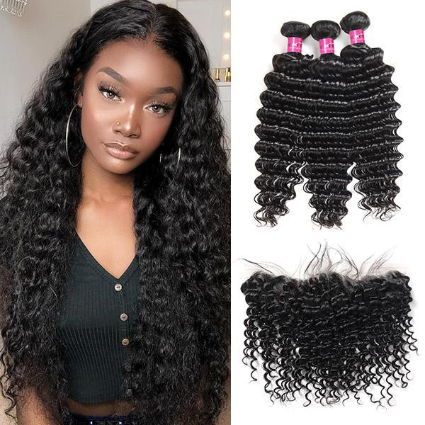 Peruvian Deep Wave Hair 3 Bundles with 13*4 Lace Frontal One More Hair