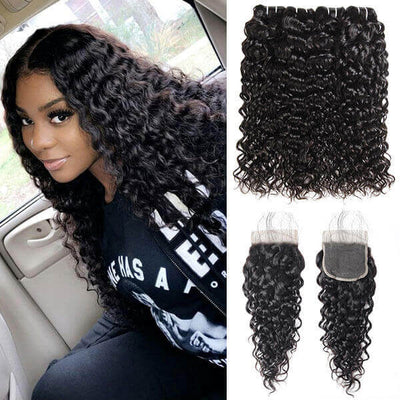 10A Virgin Brazilian Body Wave Hair 4 Bundles with 4*4 Lace Closure - OneMoreHair