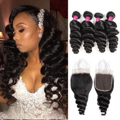 One More 10A Virgin Brazilian Loose Wave Hair 4 Bundles with 4*4 Lace Closure