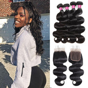 10A Virgin Brazilian Body Wave Hair 4 Bundles with 4*4 Lace Closure