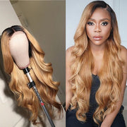 honey blonde body wave wig