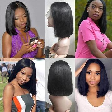 T Part Straight Hair Short Bob Wig Human Hair Lace Front Wigs