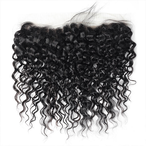100% Virgin Brazilian Water Wave Hair 3 Bundles with 13*4 Lace Frontal