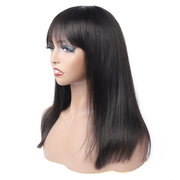Straight Bob Wig with Bang 100% Remy Human Hair Machine Made Wig