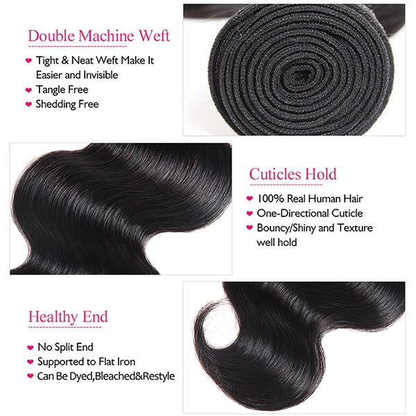 10A Grade 100% Virgin Peruvian Body Wave 4 Bundles Human Hair Weave